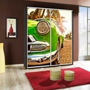 Armadio 2 ante scorrevoli Eliot 155 Green Car grafica stampa design