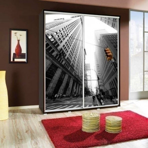 Armadio 2 ante scorrevoli Eliot 155 Skyline grafica stampa design