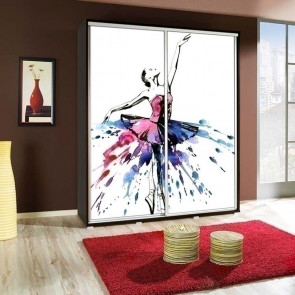 Armadio 2 ante scorrevoli Eliot 155 wengè Ballerina grafica stampa design