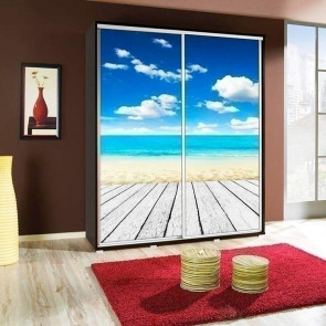 Armadio 2 ante scorrevoli Eliot 155 Spiaggia grafica stampa design