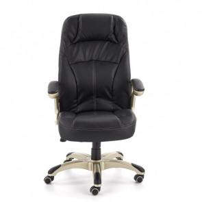 Sedia da ufficio in ecopelle Jaguar nero classica ottone