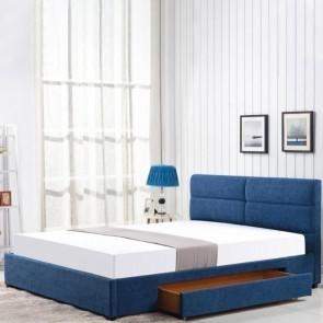 Letto matrimoniale Jelsi Gihome ® tessuto blu con cassettone moderno