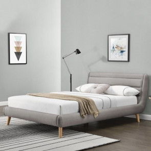 Letto 160 Pompei Gihome ® tessuto grigio chiaro moderno