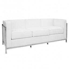 Divano LC 3 posti ecopelle bianco design