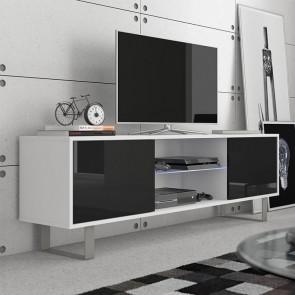 Mobile porta tv Lewis bianco nero lucido