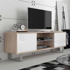 Mobile porta tv Lewis rovere bianco lucido