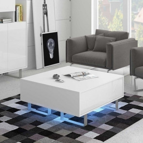 Tavolino soggiorno Milo bianco bianco lucido