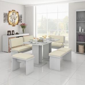 Set tavolo e panche Isac bianco beige