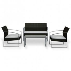 Set giardino Luca 2 poltrone, divano e tavolino grigio