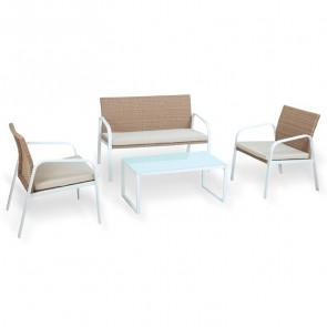 Set giardino Camilla 2 poltrone, divano e tavolino miele