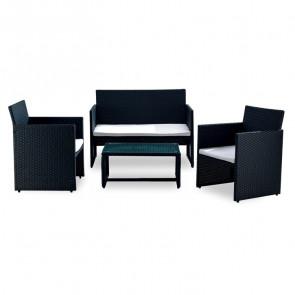Set giardino Mara 2 poltrone, divano e tavolino rattan nero