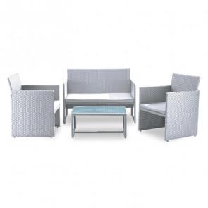 Set giardino Mara 2 poltrone, divano e tavolino rattan bianco