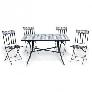 Set tavolo + 4 sedie pieghevoli esterno giardino salvaspazio Teo