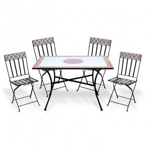 Set tavolo + 4 sedie pieghevole esterno giardino salvaspazio Mira