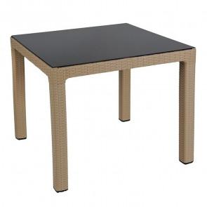 Tavolo quadrato Claro poly rattan tortora piano vetro esterno giardino