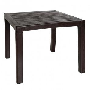 Tavolo quadrato Dino polipropilene marrone scuro esterno giardino