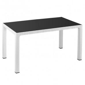 Tavolo rettangolare Ezio poly rattan bianco piano vetro esterno giardino