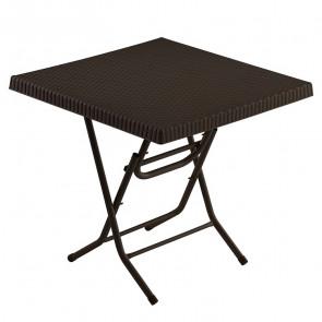 Tavolo bar pieghevole Ivo poly rattan marrone scuro 80 x 80