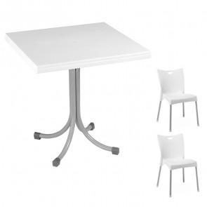 Set tavolo Miguel bianco + 2 sedie Melita bianco bar terrazzo