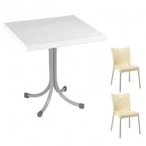Set tavolo Miguel bianco + 2 sedie Melita beige bar terrazzo