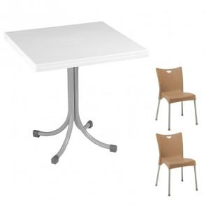 Set tavolo Miguel bianco + 2 sedie Melita tortora