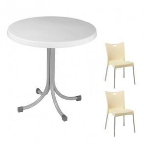 Set tavolo Elvio bianco + 2 sedie Melita beige
