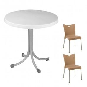 Set tavolo Elvio bianco + 2 sedie Melita tortora