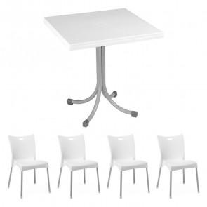 Set tavolo Miguel bianco + 4 sedie Melita bianco