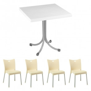 Set tavolo Miguel bianco + 4 sedie Melita beige