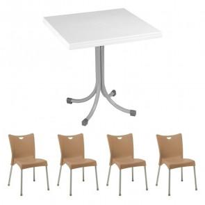 Set tavolo Miguel bianco + 4 sedie Melita tortora
