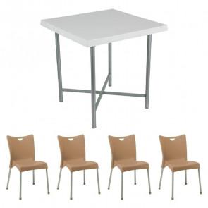 Set tavolo Alvaro bianco + 4 sedie Melita tortora