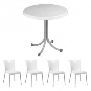 Set tavolo Elvio bianco + 4 sedie Melita bianco