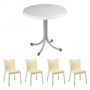 Set tavolo Elvio bianco + 4 sedie Melita beige