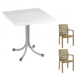 Set tavolo Miguel bianco + 2 sedie Lido tortora bar terrazzo