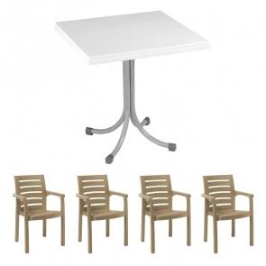 Set tavolo Miguel bianco + 4 sedie Lido tortora bar terrazzo