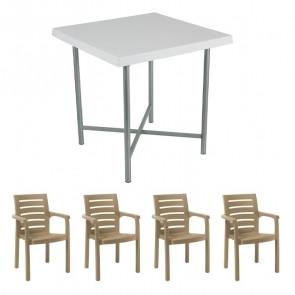 Set tavolo Alvaro bianco + 4 sedie Lido tortora bar terrazzo