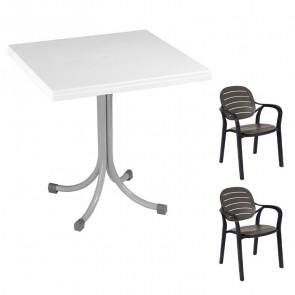 Set tavolo Miguel bianco + 2 sedie Siesta antracite bar terrazzo