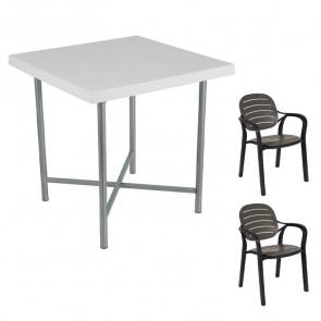 Set tavolo Alvaro bianco + 2 sedie Siesta antracite bar terrazzo