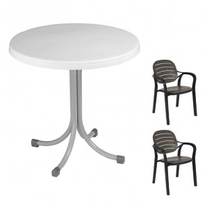 Set tavolo Elvio bianco + 2 sedie Siesta antracite bar terrazzo