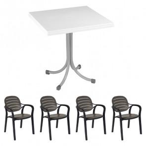 Set tavolo Miguel bianco + 4 sedie Siesta antracite bar terrazzo