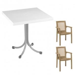 Set tavolo Miguel + 2 sedie Ventura tortora bar giardino