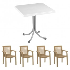 Set tavolo Miguel + 4 sedie Ventura tortora bar giardino