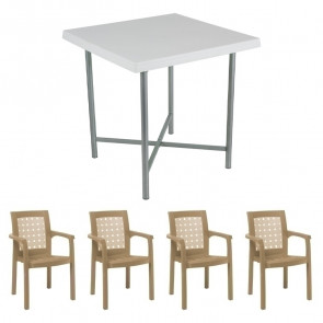 Set tavolo Alvaro + 4 sedie Ventura tortora bar giardino