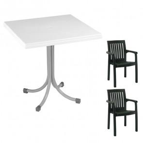 Set tavolo Miguel + 2 sedie Orlanda verde scuro bar giardino