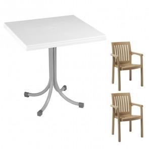 Set tavolo Miguel + 2 sedie Orlanda tortora bar giardino