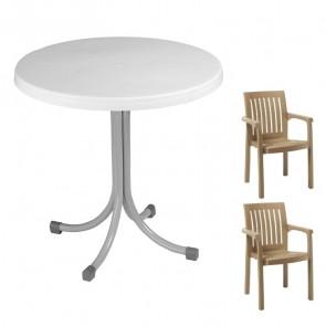 Set tavolo Elvio + 2 sedie Orlanda tortora bar giardino