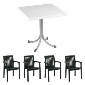 Set tavolo Miguel + 4 sedie Orlanda verde scuro bar giardino