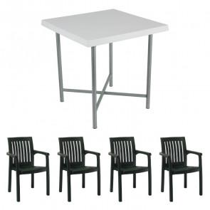 Set tavolo Alvaro + 4 sedie Orlanda verde scuro bar giardino