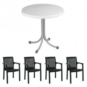 Set tavolo Elvio + 4 sedie Orlanda verde scuro bar giardino