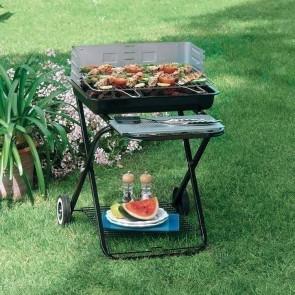 Barbecue BQ33 pieghevole con ruote per campeggio giardino legna